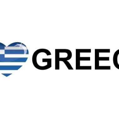 10x stuks i love greece vlaggen thema sticker 19 x 4 cm