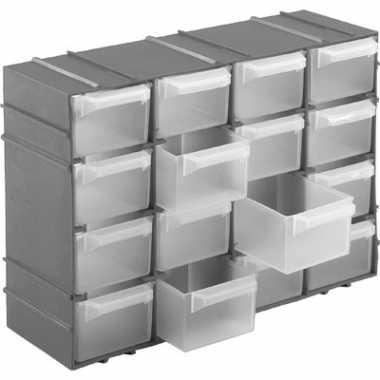 1x stuks grijze staande opbergboxen sorteerboxen met 16 vakken 22 cm