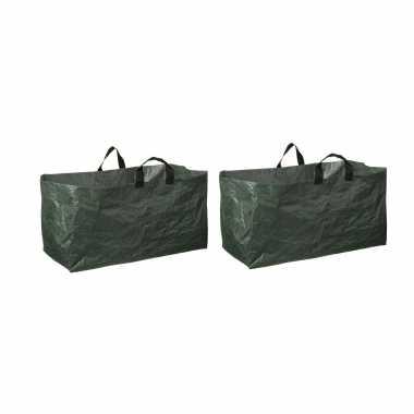 2x groene kofferbak afvalzakken opvouwbaar 225 liter