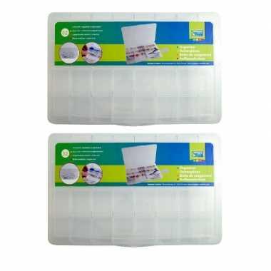 2x opberg/sorteer boxen/dozen met 32 vakken 35 cm