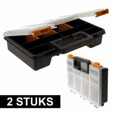 2x opberg sorteer boxen met 8 vakken 29 cm