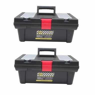 2x stuks gereedschapskisten / koffers met bakjes 42 x 23 x 18 cm