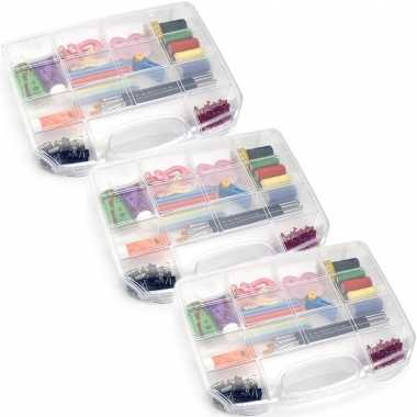 3x opbergkoffertje/opbergdoosjes 8-vaks transparant