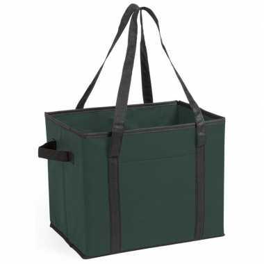 3x stuks auto kofferbak/kasten organizer tassen groen vouwbaar 34 x 2