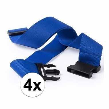 4x stuks kofferriemen blauw 180 cm