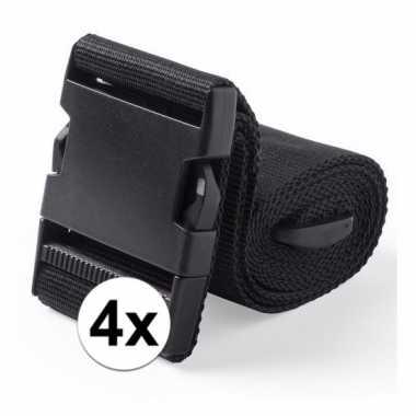 4x stuks kofferriemen zwart 180 cm
