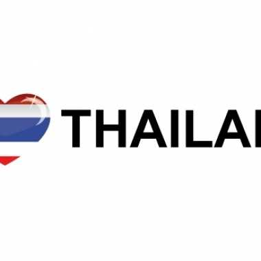 5x stuks i love thailand vlaggen thema sticker 19 x 4 cm