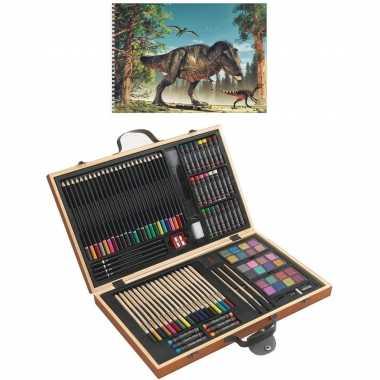 Complete teken schilder doos 88 delig met een a4 dino schetsboek