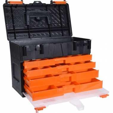 Gereedschapskist/koffer met 4 assortiments laden 44 x 26 x 33 cm