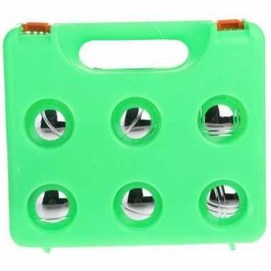 Jeu de boules set in groene kunststof koffer