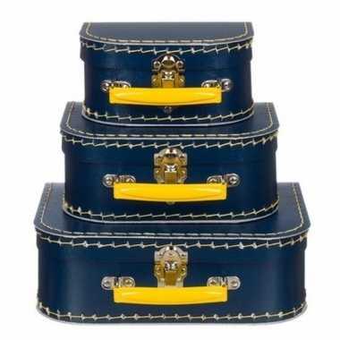 Kinderkoffertje navy/geel 16 cm