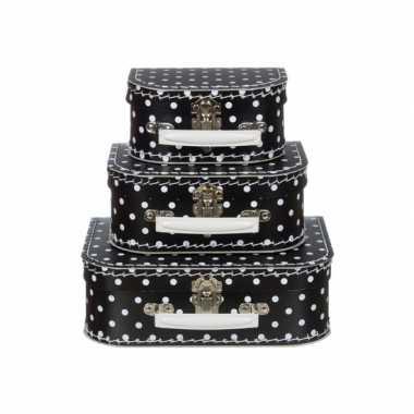 Kinderkoffertje zwart met witte stippen 25 cm