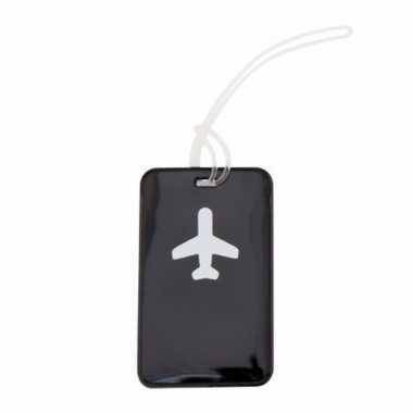 Kofferlabel zwart 11,5 cm