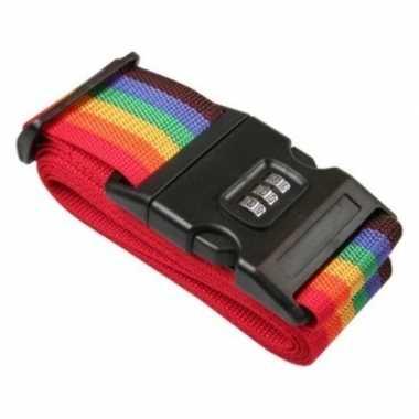 Kofferriem bagageriem met cijferslot 200 cm regenboog kleuren