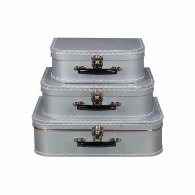 Koffertje zilver 35 cm
