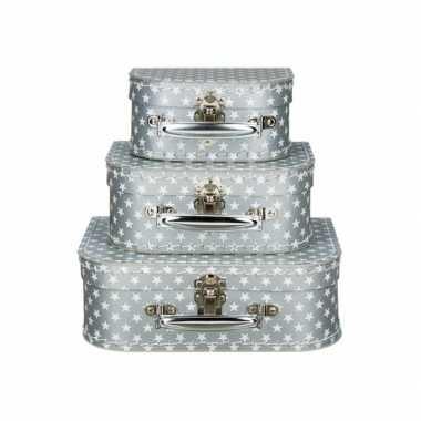 Koffertje zilver sterren 25 cm