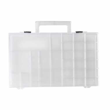 Opberg/sorteer box/dozen met 33 vakken 31 cm