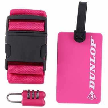 Roze koffer bagage accessoiresset 3 delig