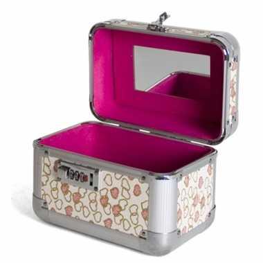 Roze make up opbergkoffer met hartjes en cijferslot 21 x 14 x 21 cm