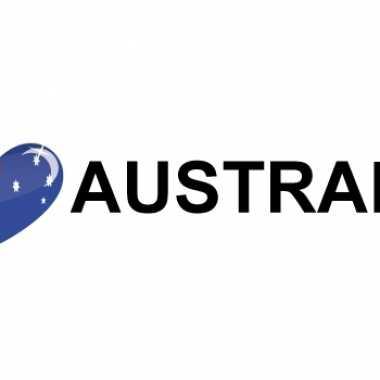 Set van 10x stuks i love australia vlag sticker 19.6 cm