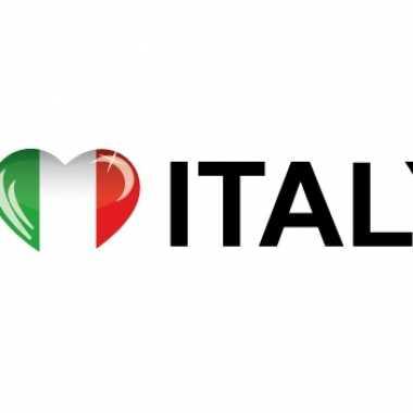 Set van 10x stuks i love italy vlag sticker 19.6 cm