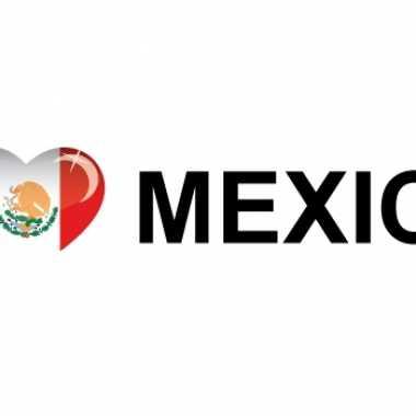 Set van 10x stuks i love mexico vlag sticker 19.6 cm