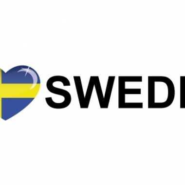 Set van 10x stuks i love sweden vlag sticker 19.6 cm