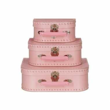 Speelgoed koffertje licht roze 20 cm
