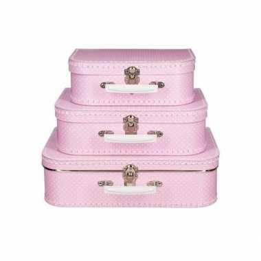Speelgoed koffertje roze met stippen wit 25 cm