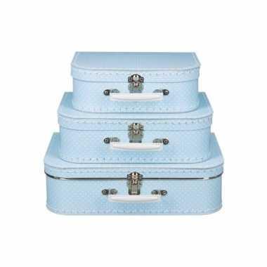 Speelgoedkoffertje licht blauw met witte stipjes 35 cm
