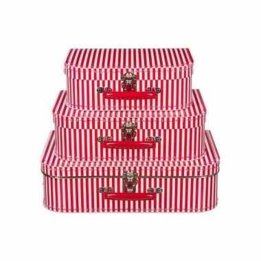 Speelgoedkoffertje rood met witte strepen 30 cm
