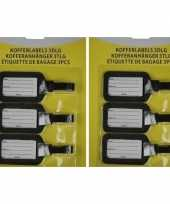 2x kofferlabel bagagelabel set van 3 stuks zwart