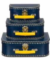 Kinderkoffertje navy geel 16 cm