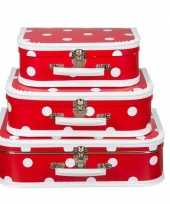 Knutsel koffertje rood polkadot 25 cm