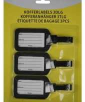 Kofferlabel bagagelabel set 3 stuks zwart