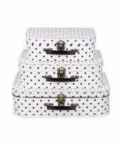 Koffertje wit met zwarte stippen 25 cm